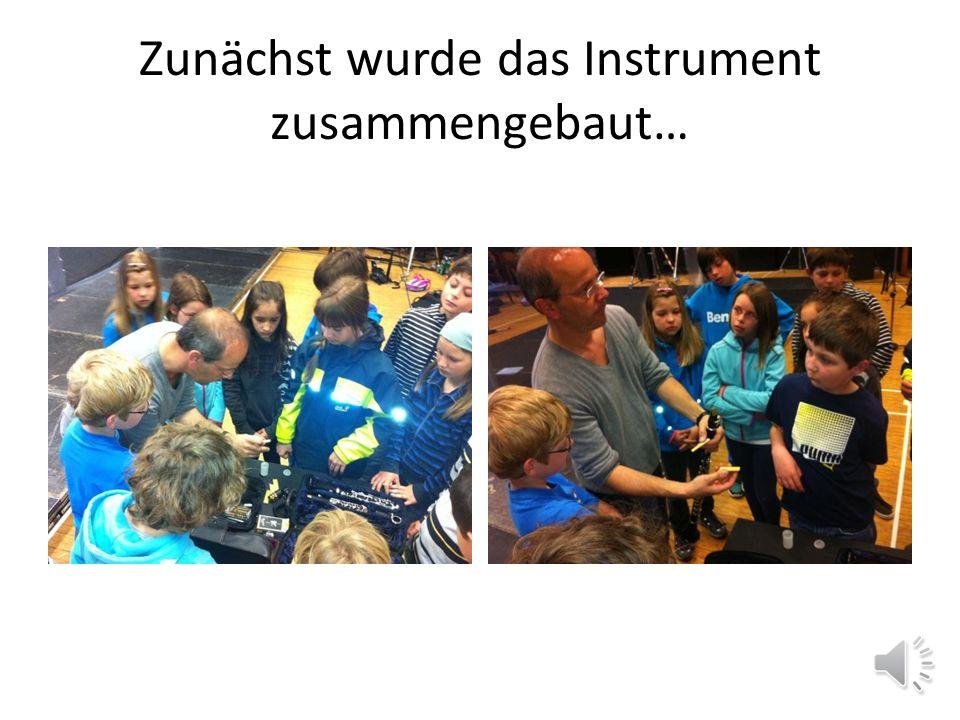 Instrumentenvorstellung 9.00 – 10.00 Uhr Vor der Orchesterprobe stand noch eine Instrumentenvorstellung auf dem Programm. Zwei Ensemblemitglieder brac
