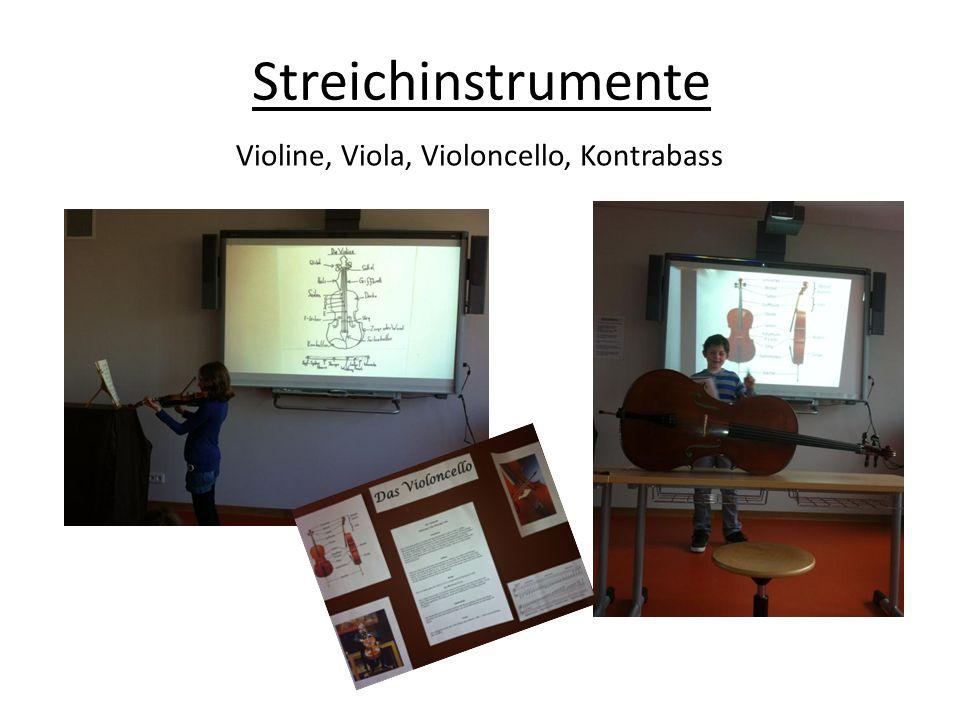 Streichinstrumente Violine, Viola, Violoncello, Kontrabass