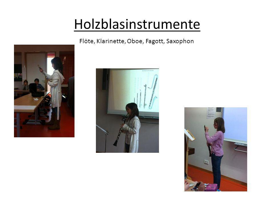 Holzblasinstrumente Flöte, Klarinette, Oboe, Fagott, Saxophon