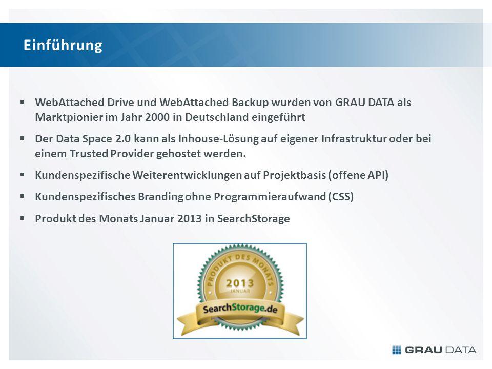 Einführung WebAttached Drive und WebAttached Backup wurden von GRAU DATA als Marktpionier im Jahr 2000 in Deutschland eingeführt Der Data Space 2.0 kann als Inhouse-Lösung auf eigener Infrastruktur oder bei einem Trusted Provider gehostet werden.