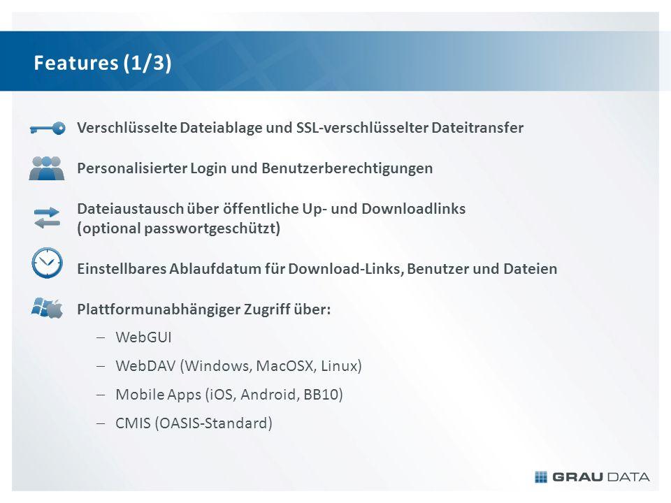 Features (1/3) Verschlüsselte Dateiablage und SSL-verschlüsselter Dateitransfer Personalisierter Login und Benutzerberechtigungen Dateiaustausch über öffentliche Up- und Downloadlinks (optional passwortgeschützt) Einstellbares Ablaufdatum für Download-Links, Benutzer und Dateien Plattformunabhängiger Zugriff über: WebGUI WebDAV (Windows, MacOSX, Linux) Mobile Apps (iOS, Android, BB10) CMIS (OASIS-Standard)