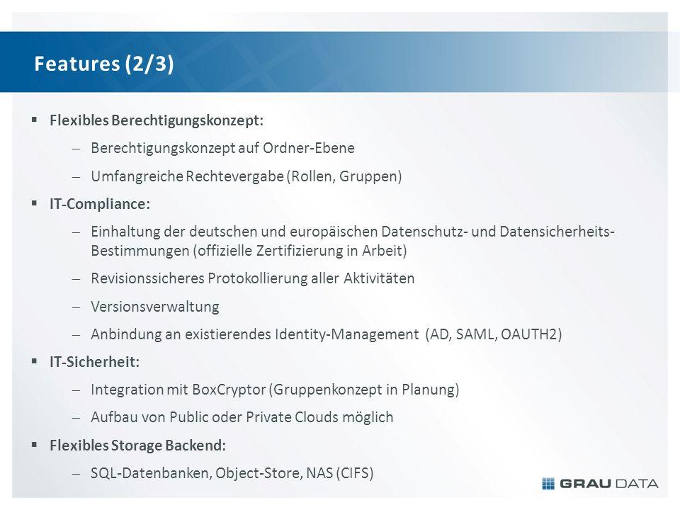 Features (2/3) Flexibles Berechtigungskonzept: Berechtigungskonzept auf Ordner-Ebene Umfangreiche Rechtevergabe (Rollen, Gruppen) IT-Compliance: Einhaltung der deutschen und europäischen Datenschutz- und Datensicherheits- Bestimmungen (offizielle Zertifizierung in Arbeit) Revisionssicheres Protokollierung aller Aktivitäten Versionsverwaltung Anbindung an existierendes Identity-Management (AD, SAML, OAUTH2) IT-Sicherheit: Integration mit BoxCryptor (Gruppenkonzept in Planung) Aufbau von Public oder Private Clouds möglich Flexibles Storage Backend: SQL-Datenbanken, Object-Store, NAS (CIFS)