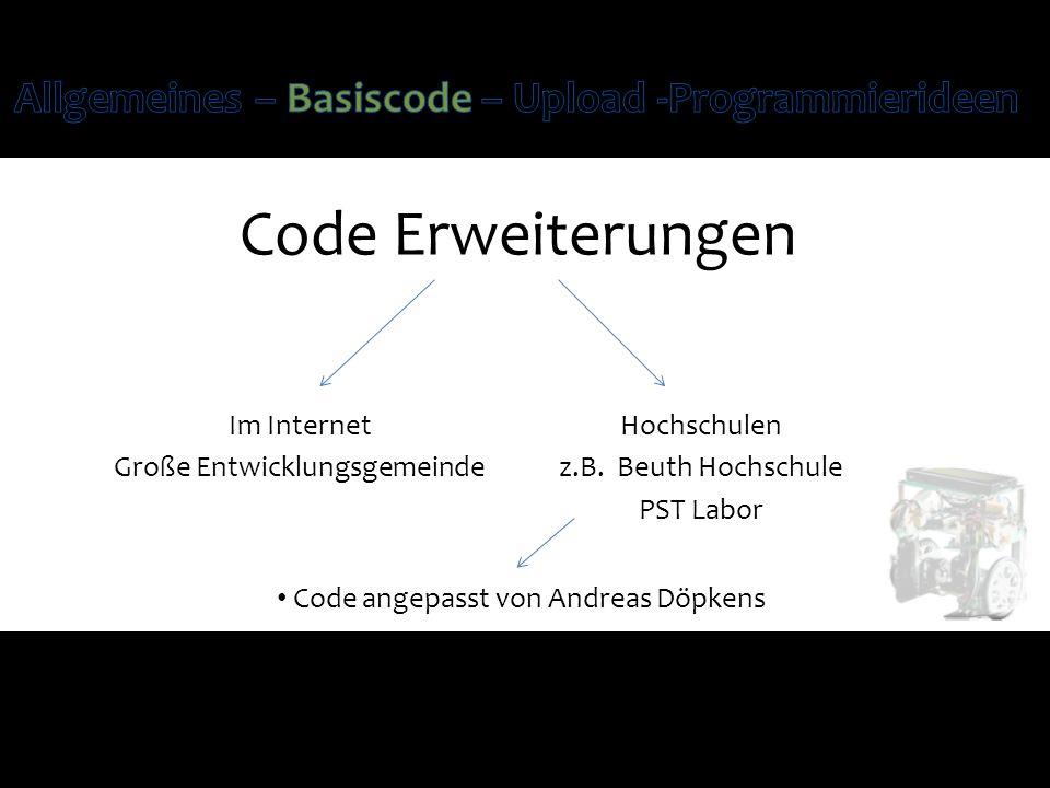 Code Erweiterungen Im Internet Große Entwicklungsgemeinde Hochschulen z.B. Beuth Hochschule PST Labor Code angepasst von Andreas Döpkens