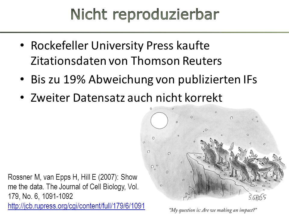 Rockefeller University Press kaufte Zitationsdaten von Thomson Reuters Bis zu 19% Abweichung von publizierten IFs Zweiter Datensatz auch nicht korrekt Rossner M, van Epps H, Hill E (2007): Show me the data.