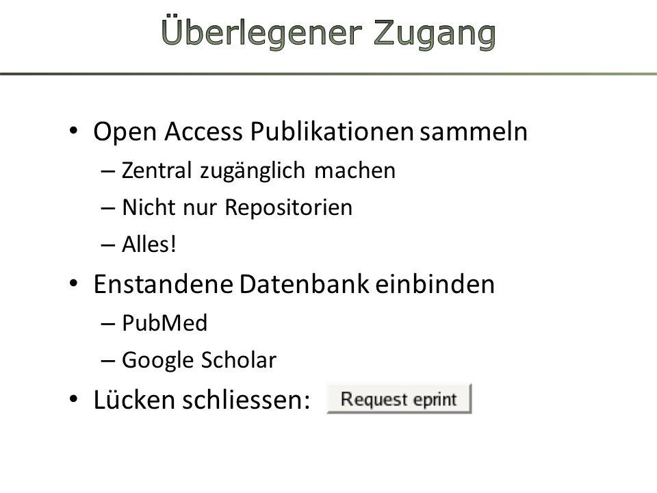 Open Access Publikationen sammeln – Zentral zugänglich machen – Nicht nur Repositorien – Alles! Enstandene Datenbank einbinden – PubMed – Google Schol