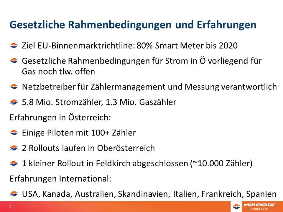2 Gesetzliche Rahmenbedingungen und Erfahrungen Ziel EU-Binnenmarktrichtline: 80% Smart Meter bis 2020 Gesetzliche Rahmenbedingungen für Strom in Ö vo