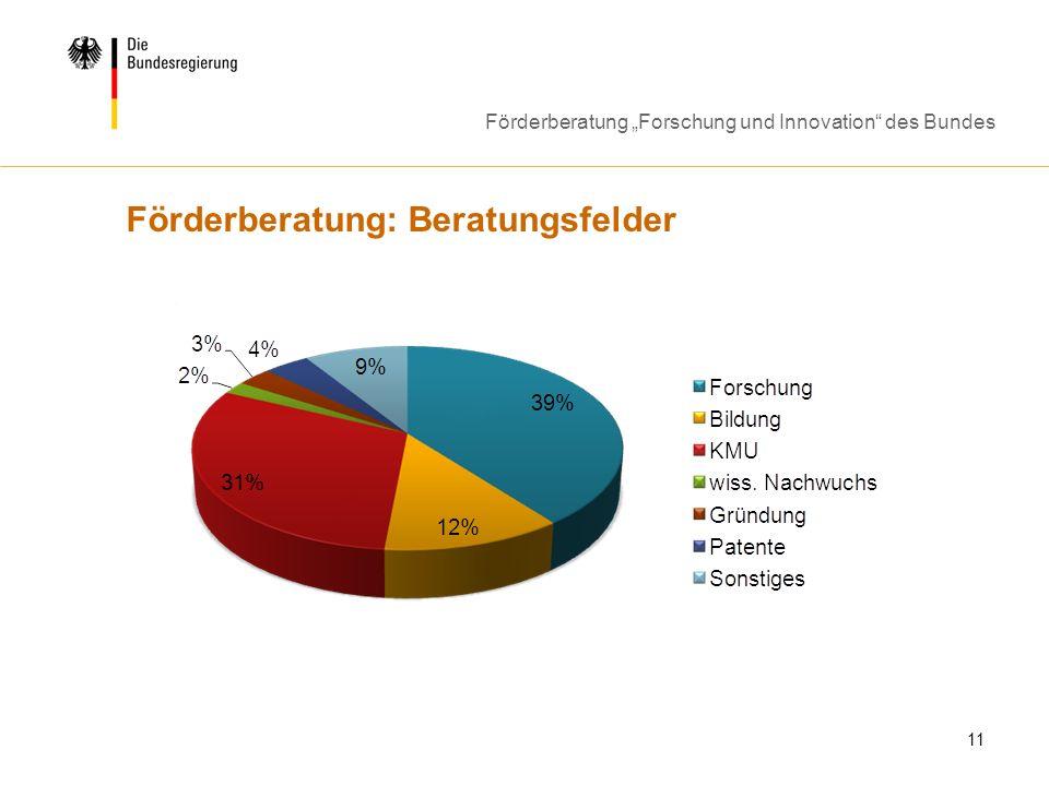 Förderberatung Forschung und Innovation des Bundes 11 Förderberatung: Beratungsfelder