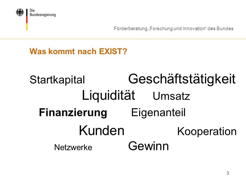 Förderberatung Forschung und Innovation des Bundes 3 Was kommt nach EXIST? Startkapital Geschäftstätigkeit Liquidität Umsatz Finanzierung Eigenanteil