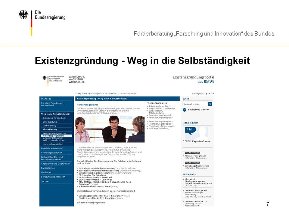 Förderberatung Forschung und Innovation des Bundes 7 Existenzgründung - Weg in die Selbständigkeit