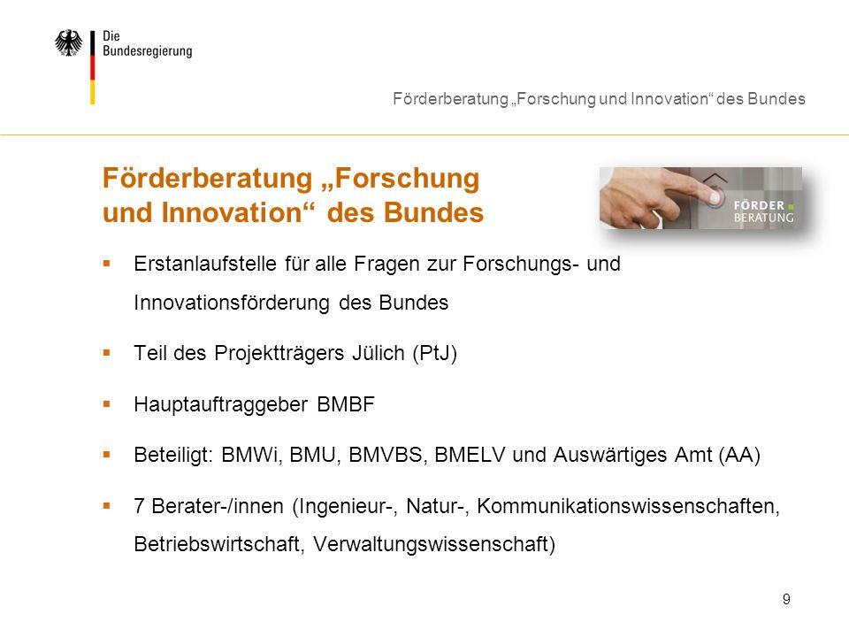 Förderberatung Forschung und Innovation des Bundes 9 Erstanlaufstelle für alle Fragen zur Forschungs- und Innovationsförderung des Bundes Teil des Pro