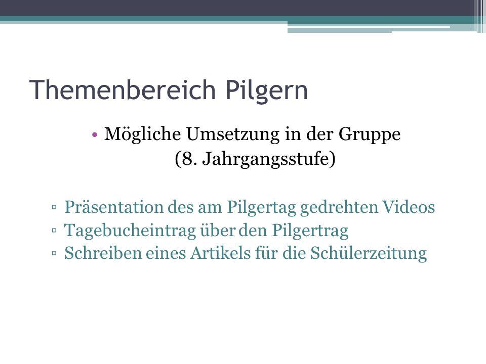 Themenbereich Pilgern Mögliche Umsetzung in der Gruppe (8. Jahrgangsstufe) Präsentation des am Pilgertag gedrehten Videos Tagebucheintrag über den Pil