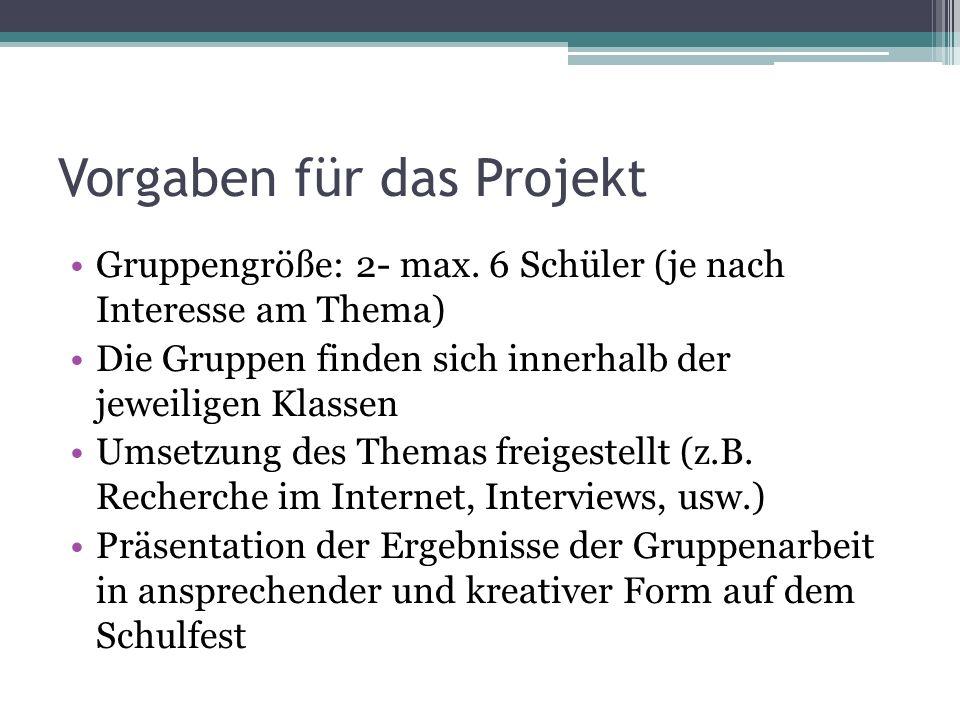 Vorgaben für das Projekt Gruppengröße: 2- max. 6 Schüler (je nach Interesse am Thema) Die Gruppen finden sich innerhalb der jeweiligen Klassen Umsetzu