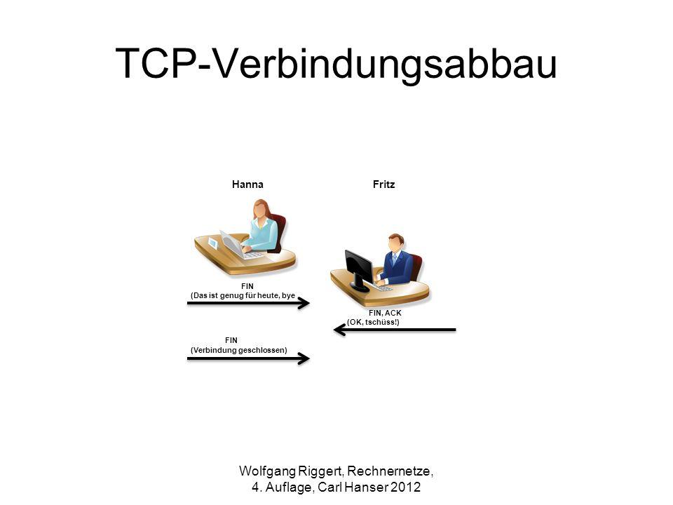 TCP-Verbindungsabbau FIN (Das ist genug für heute, bye FIN, ACK (OK, tschüss!) FIN (Verbindung geschlossen) FritzHanna Wolfgang Riggert, Rechnernetze,