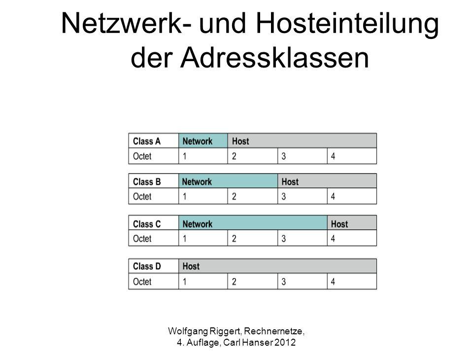 Netzwerk- und Hosteinteilung der Adressklassen Wolfgang Riggert, Rechnernetze, 4. Auflage, Carl Hanser 2012