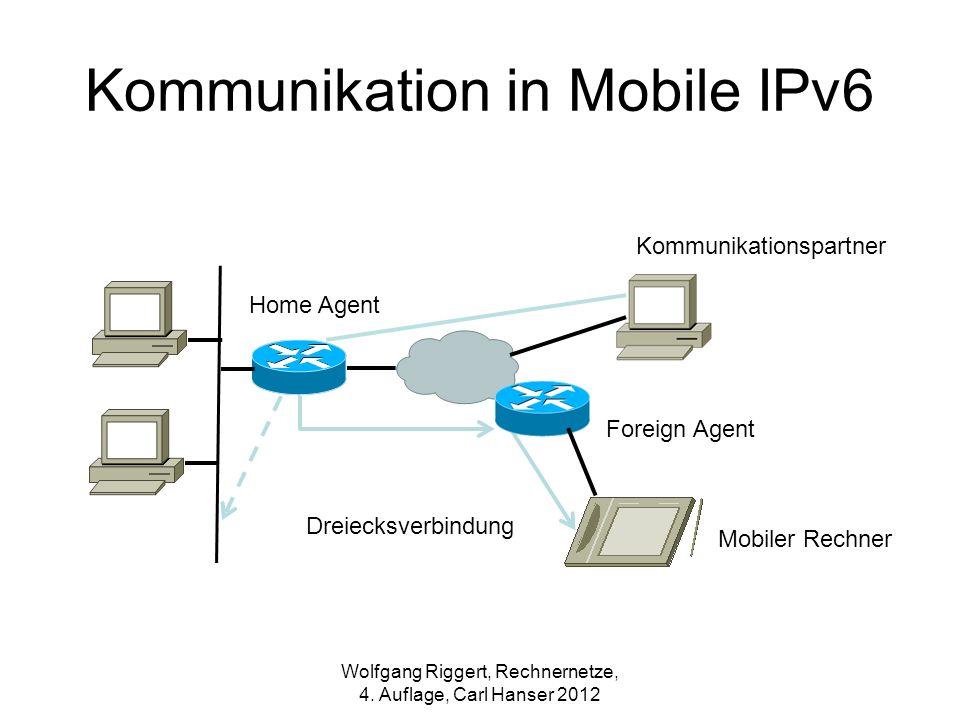 Kommunikationspartner Home Agent Foreign Agent Mobiler Rechner Dreiecksverbindung Wolfgang Riggert, Rechnernetze, 4. Auflage, Carl Hanser 2012 Kommuni