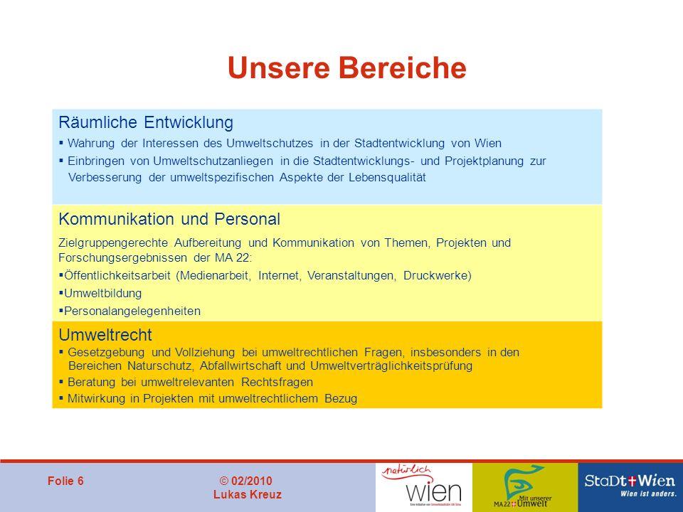 Folie 6© 02/2010 Lukas Kreuz Unsere Bereiche Räumliche Entwicklung Wahrung der Interessen des Umweltschutzes in der Stadtentwicklung von Wien Einbring
