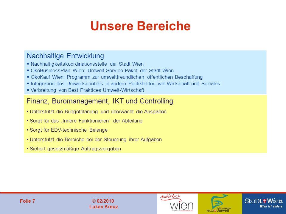 Folie 7© 02/2010 Lukas Kreuz Unsere Bereiche Nachhaltige Entwicklung Nachhaltigkeitskoordinationsstelle der Stadt Wien ÖkoBusinessPlan Wien: Umwelt-Se