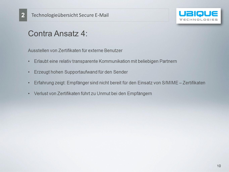 10 Technologieübersicht Secure E-Mail 2 Contra Ansatz 4: Ausstellen von Zertifikaten für externe Benutzer Erlaubt eine relativ transparente Kommunikat