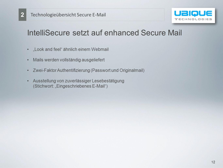 12 Technologieübersicht Secure E-Mail 2 IntelliSecure setzt auf enhanced Secure Mail Look and feel ähnlich einem Webmail Mails werden vollständig ausg