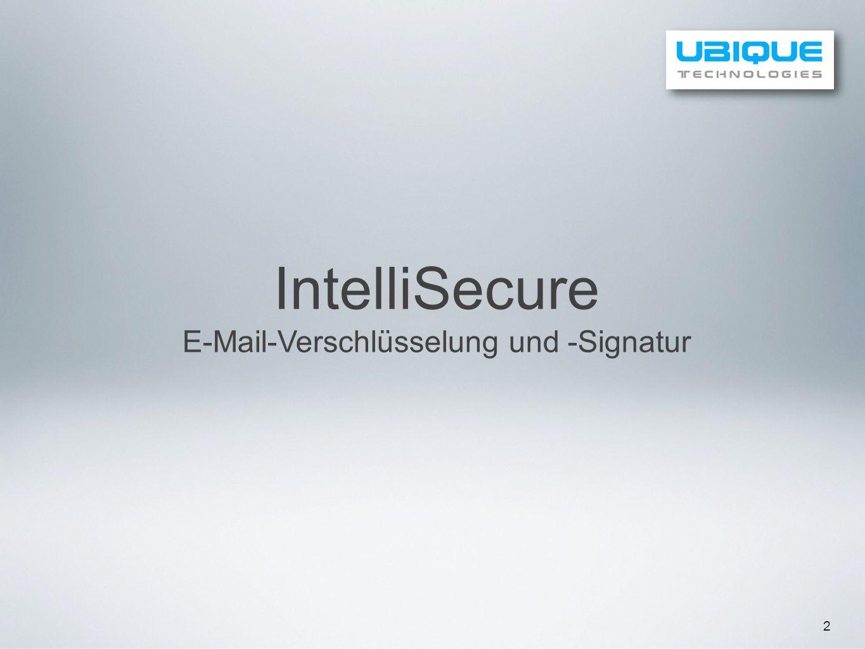 13 Technologieübersicht Secure E-Mail 2 Step 1 Step 2 Step 3 Step 4 Absender schreibt eine E-Mail und markiert diese als vertraulich.