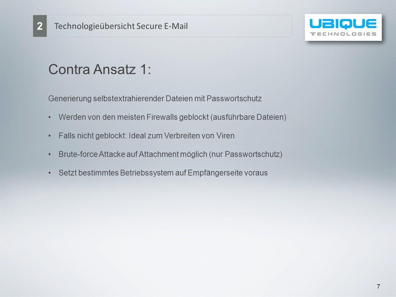 7 Technologieübersicht Secure E-Mail 2 Contra Ansatz 1: Generierung selbstextrahierender Dateien mit Passwortschutz Werden von den meisten Firewalls g