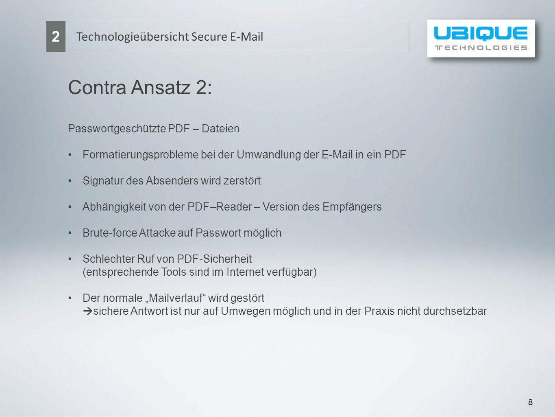 8 Technologieübersicht Secure E-Mail 2 Contra Ansatz 2: Passwortgeschützte PDF – Dateien Formatierungsprobleme bei der Umwandlung der E-Mail in ein PD