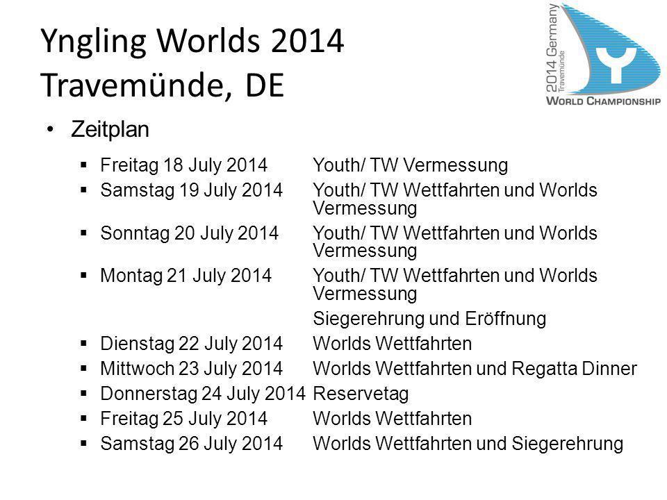 Yngling Worlds 2014 Travemünde, DE Zeitplan Freitag 18 July 2014Youth/ TW Vermessung Samstag 19 July 2014Youth/ TW Wettfahrten und Worlds Vermessung S