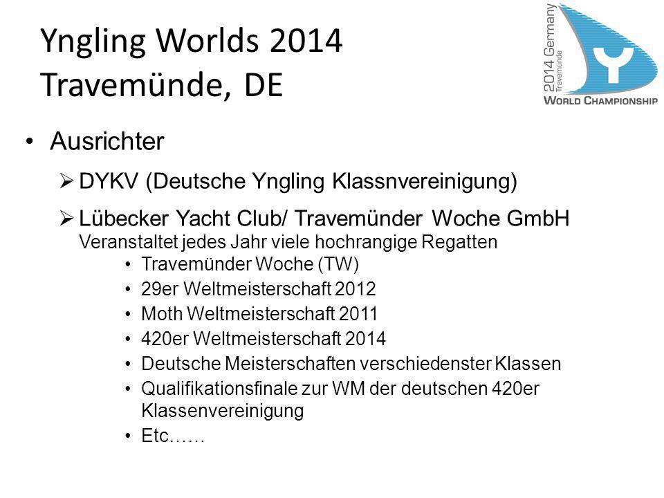 Yngling Worlds 2014 Travemünde, DE Ausrichter DYKV (Deutsche Yngling Klassnvereinigung) Lübecker Yacht Club/ Travemünder Woche GmbH Veranstaltet jedes