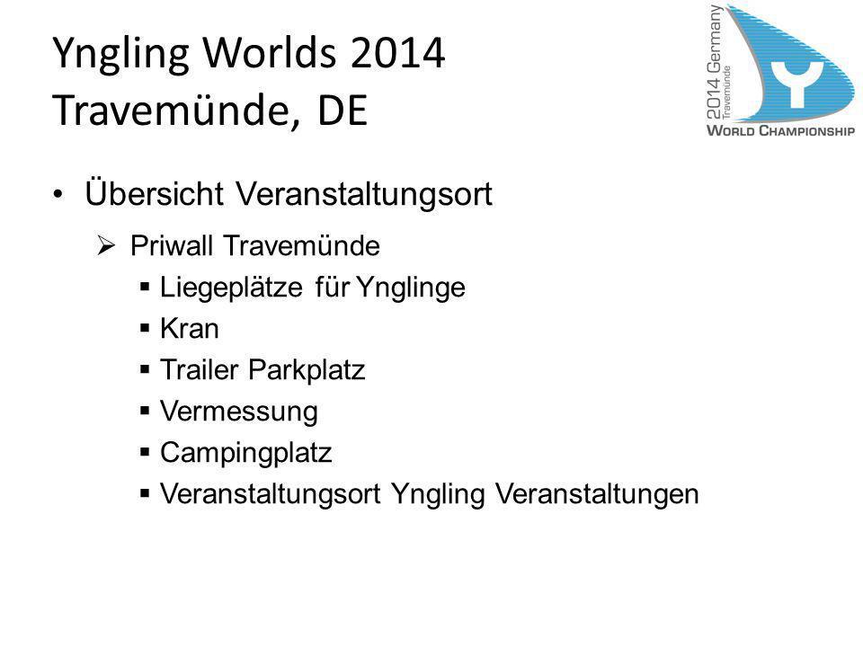 Yngling Worlds 2014 Travemünde, DE Übersicht Veranstaltungsort Sailors Village Regattabüro Travemünder Woche Veranstaltungen Seglerfähre verbindet beide Veranstaltungsorte