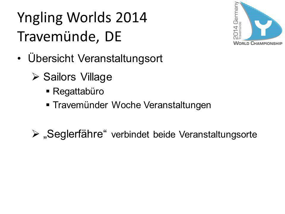 Yngling Worlds 2014 Travemünde, DE Übersicht Veranstaltungsort Sailors Village Regattabüro Travemünder Woche Veranstaltungen Seglerfähre verbindet bei