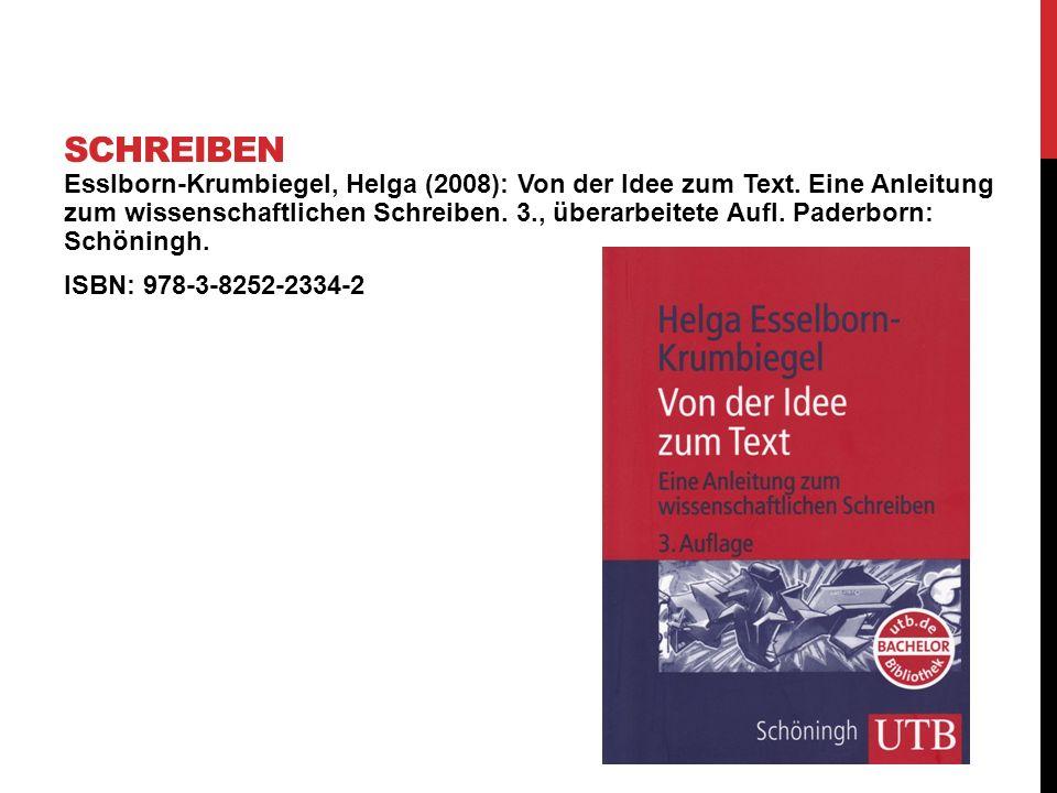 Esslborn-Krumbiegel, Helga (2008): Von der Idee zum Text. Eine Anleitung zum wissenschaftlichen Schreiben. 3., überarbeitete Aufl. Paderborn: Schöning