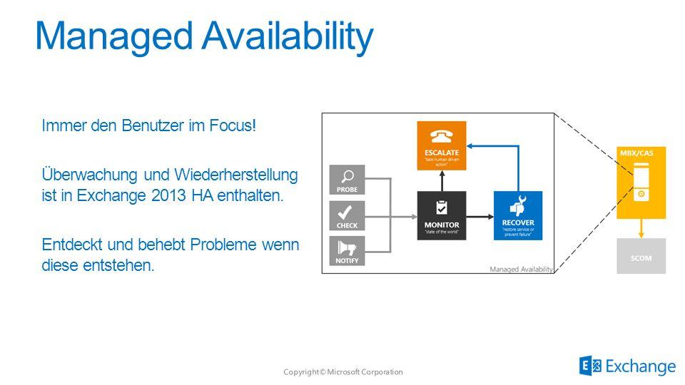 Immer den Benutzer im Focus! Überwachung und Wiederherstellung ist in Exchange 2013 HA enthalten. Entdeckt und behebt Probleme wenn diese entstehen.