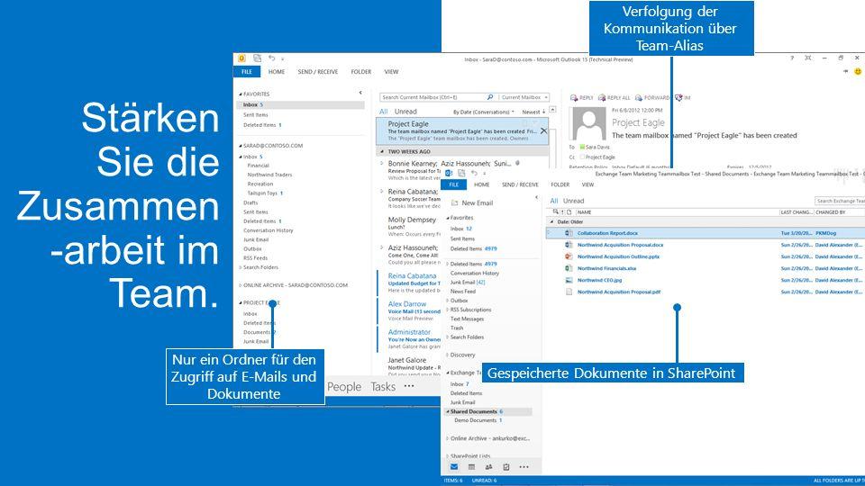 Verfolgung der Kommunikation über Team-Alias Nur ein Ordner für den Zugriff auf E-Mails und Dokumente Gespeicherte Dokumente in SharePoint