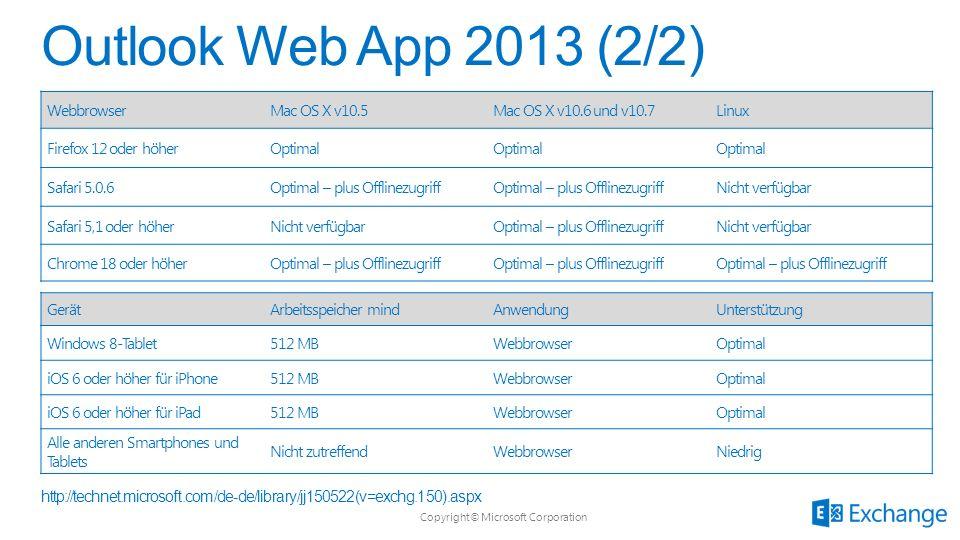 Copyright© Microsoft Corporation WebbrowserMac OS X v10.5Mac OS X v10.6 und v10.7Linux Firefox 12 oder höherOptimal Safari 5.0.6Optimal – plus Offline