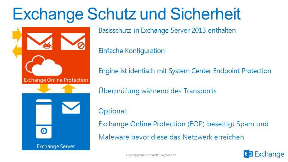 Copyright© Microsoft Corporation Basisschutz in Exchange Server 2013 enthalten Einfache Konfiguration Engine ist identisch mit System Center Endpoint