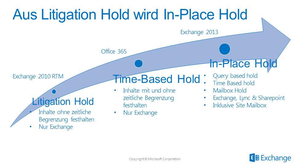 Copyright© Microsoft Corporation Litigation Hold Time-Based Hold In-Place Hold Aus Litigation Hold wird In-Place Hold Inhalte ohne zeitliche Begrenzun