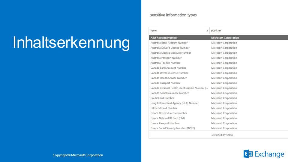 Copyright© Microsoft Corporation Vordefinierte Regeln zielen auf sensitive Datentypen Kombination von regulären Ausdrücken, Wörterbüchern, internen Me