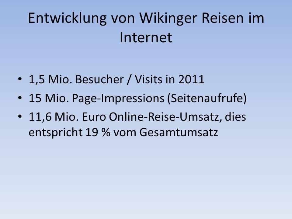Entwicklung von Wikinger Reisen im Internet 1,5 Mio.