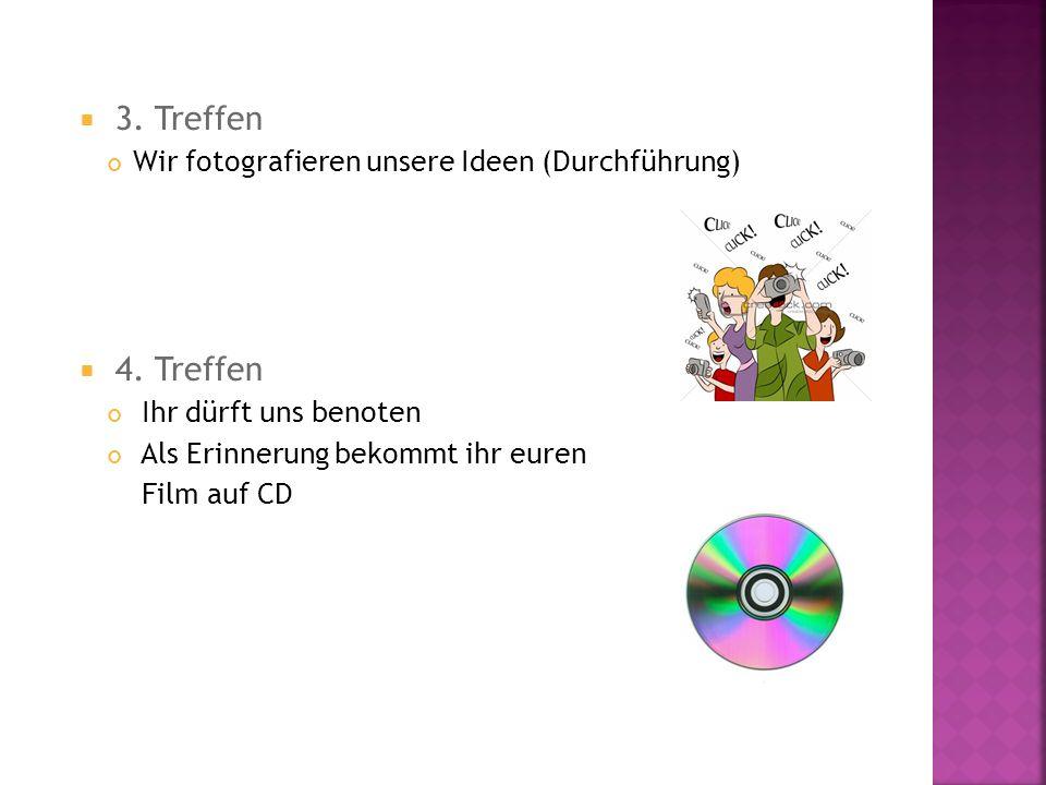 3. Treffen Wir fotografieren unsere Ideen (Durchführung) 4. Treffen Ihr dürft uns benoten Als Erinnerung bekommt ihr euren Film auf CD