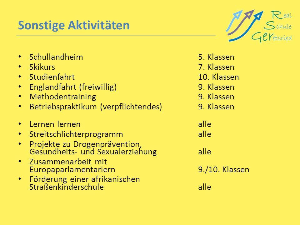 Sonstige Aktivitäten Schullandheim5. Klassen Skikurs7. Klassen Studienfahrt10. Klassen Englandfahrt (freiwillig)9. Klassen Methodentraining9. Klassen