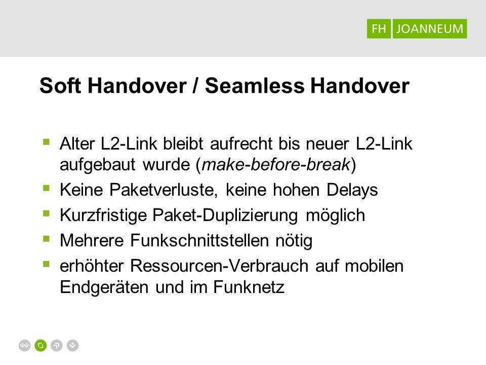 Soft Handover / Seamless Handover Alter L2-Link bleibt aufrecht bis neuer L2-Link aufgebaut wurde (make-before-break) Keine Paketverluste, keine hohen
