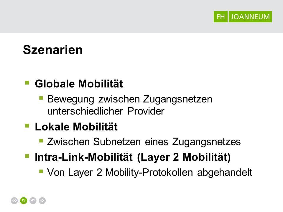 Szenarien Globale Mobilität Bewegung zwischen Zugangsnetzen unterschiedlicher Provider Lokale Mobilität Zwischen Subnetzen eines Zugangsnetzes Intra-L