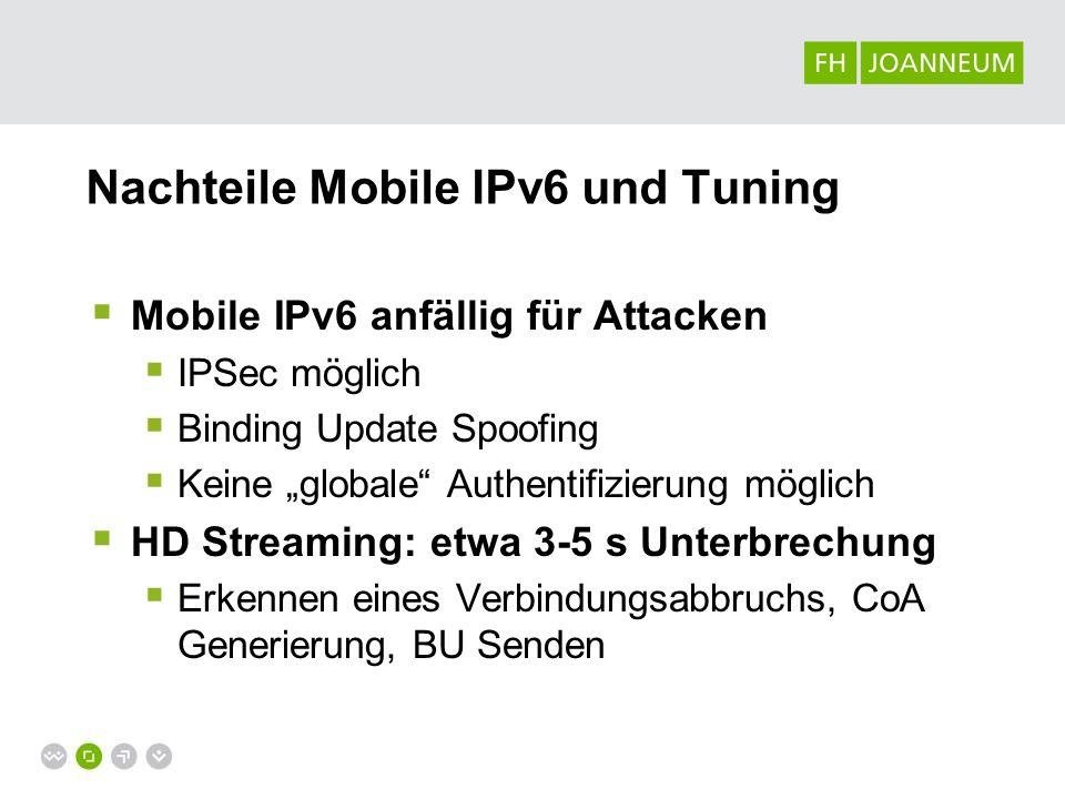 Mobile IPv6 Tuning FMIPv6 Eigenständiger Scan nach Netzen (RtSolPr) Fast Binding Update (CoA wird selbst generiert) Reactive/Predictive HMIPv6 Signaling Traffic verringern, Mobility Anchor Point (MAP) F-HMIPv6 Verknüpfung von HMIP und FMIP