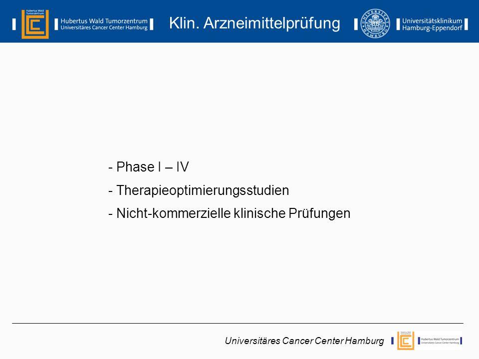 - Phase I:Erstanwendung am Menschen* - Phase II:Erstanwendung am Patienten* - Phase III:Breite klinische Prüfung - Phase IV:Klinische Prüfung nach der Zulassung Phase I - IV Universitäres Cancer Center Hamburg