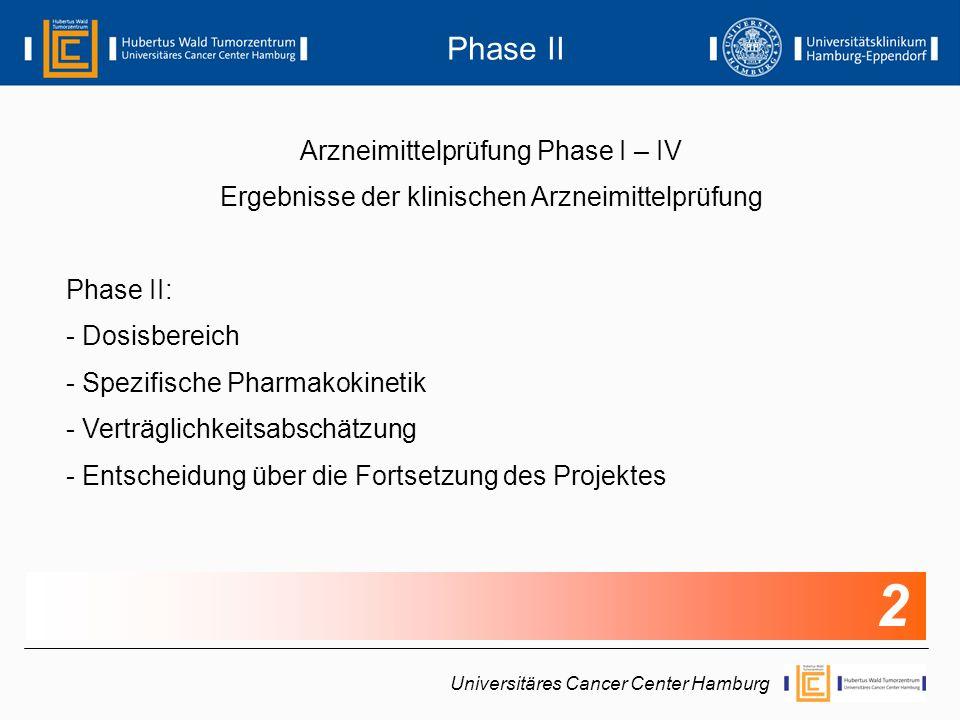 Arzneimittelprüfung Phase I – IV Ergebnisse der klinischen Arzneimittelprüfung Phase III: - Indikationen und Kontraindikationen - Bestätigung der Dosis-Wirkungsbeziehung - Art, Dauer und Häufigkeit von Nebenwirkungen - Einordnung in Bezug zur Standard-Therapie Universitäres Cancer Center Hamburg Phase III 3