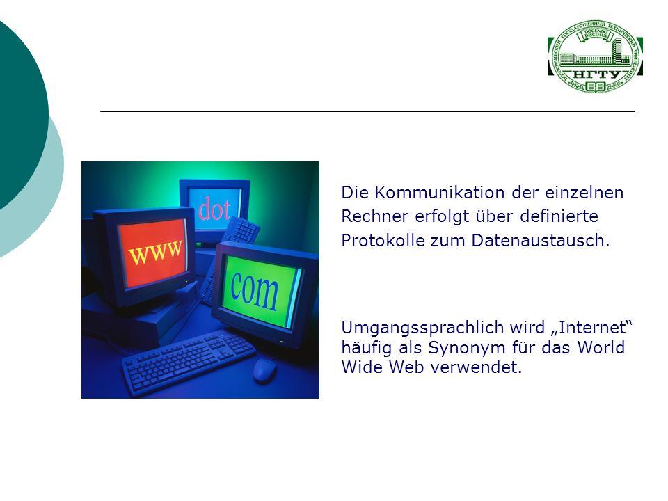 Umgangssprachlich wird Internet häufig als Synonym für das World Wide Web verwendet. Die Kommunikation der einzelnen Rechner erfolgt über definierte P
