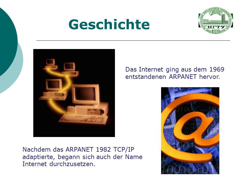 Geschichte Das Internet ging aus dem 1969 entstandenen ARPANET hervor. Nachdem das ARPANET 1982 TCP/IP adaptierte, begann sich auch der Name Internet