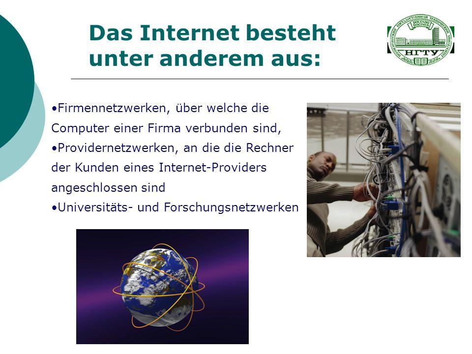 Firmennetzwerken, über welche die Computer einer Firma verbunden sind, Providernetzwerken, an die die Rechner der Kunden eines Internet-Providers ange
