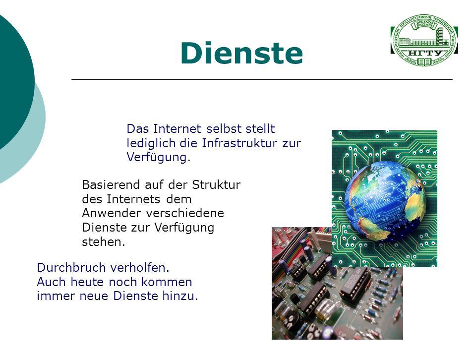 Dienste Das Internet selbst stellt lediglich die Infrastruktur zur Verfügung. Durchbruch verholfen. Auch heute noch kommen immer neue Dienste hinzu. B