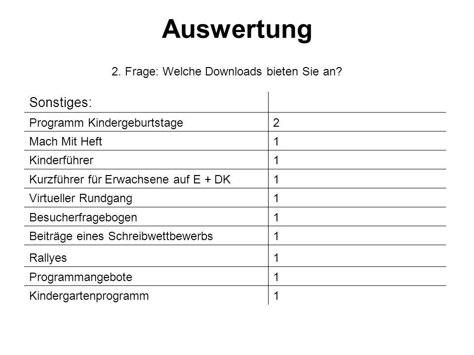 2. Frage: Welche Downloads bieten Sie an.
